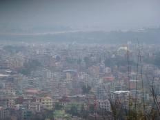 A hazy view of Kathmandu.