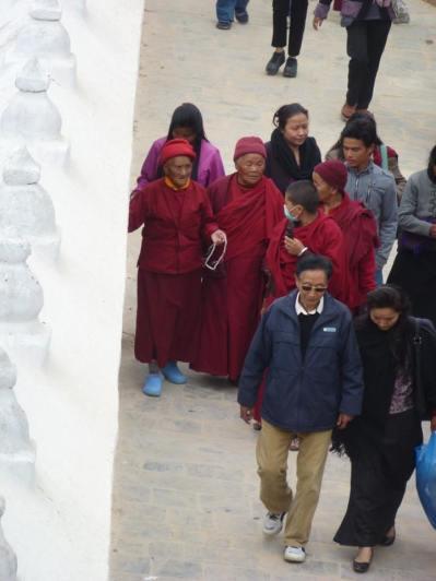 Cheery nuns at Boudhanath